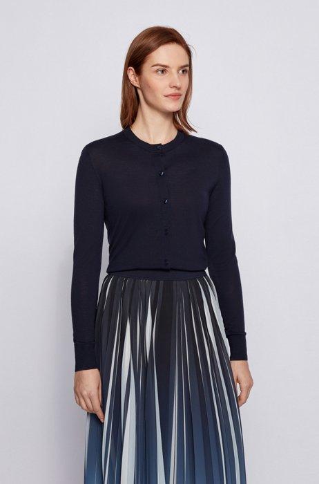 Button-through cardigan in virgin wool, Dark Blue