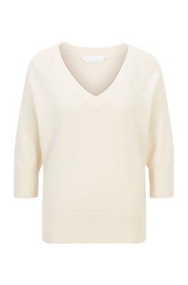 V-neck sweater in pure cashmere, White