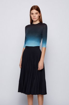 Virgin-wool sweater with ombré print, Blue Patterned