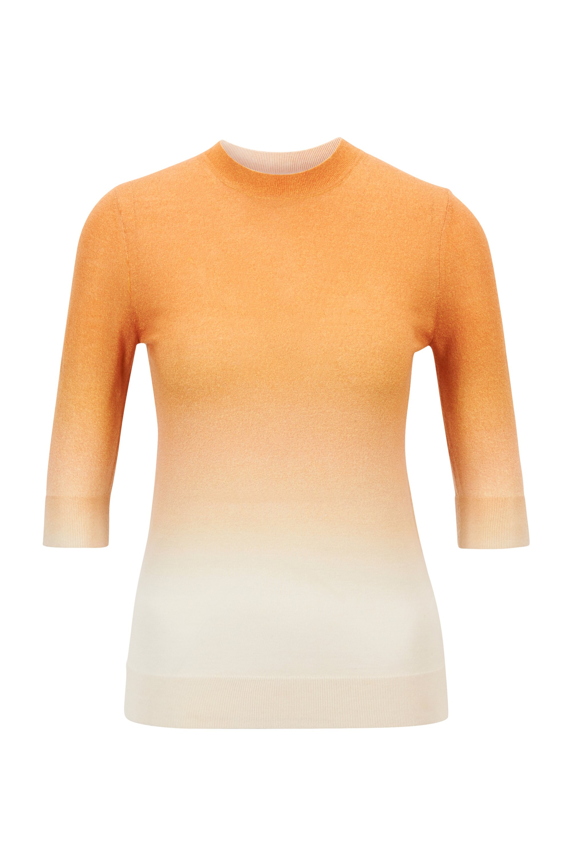 Virgin-wool sweater with ombré print, Orange Patterned
