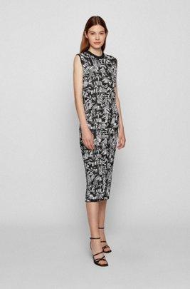 Slim-fit plissé dress with jacquard pattern, Patterned