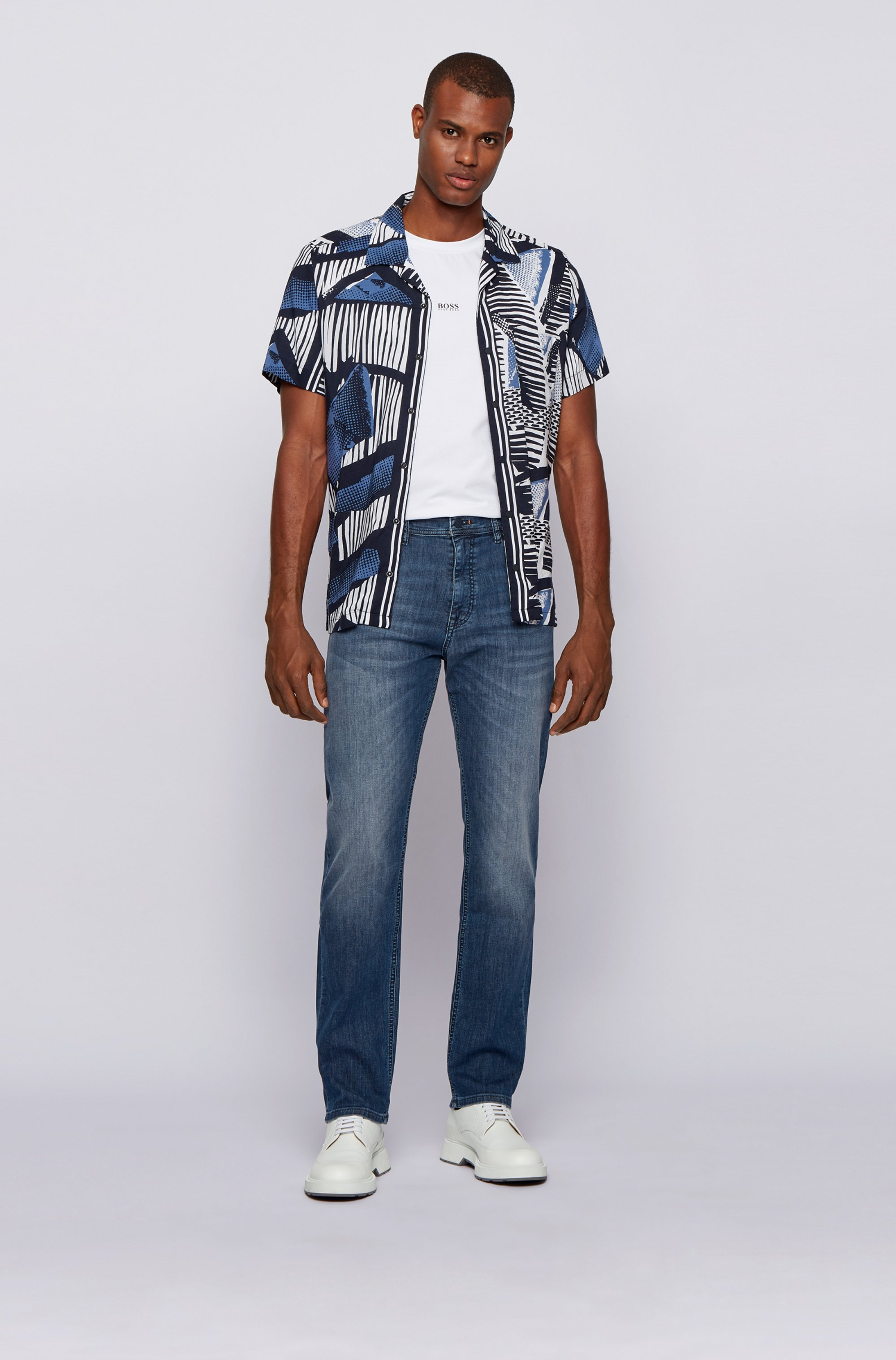 Relaxed-fit jeans in lightweight super-stretch denim