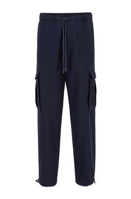 Relaxed-fit cargo trousers in virgin-wool gabardine, Dark Blue