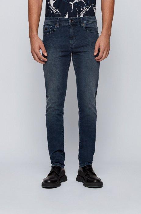 Jeans skinny fit in denim super stretch leggero, Blu scuro