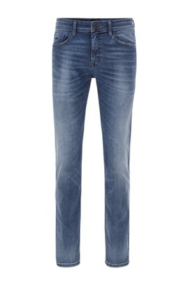 Slim-fit jeans in mid-blue super-stretch denim, Blue