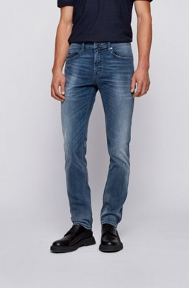 Jean Slim Fit en denim super stretch bleu, Bleu