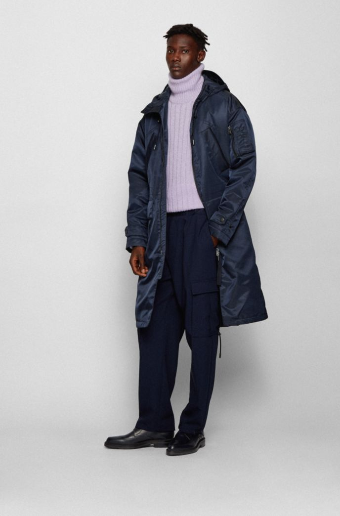 Relaxed-fit parka jacket in Italian twill