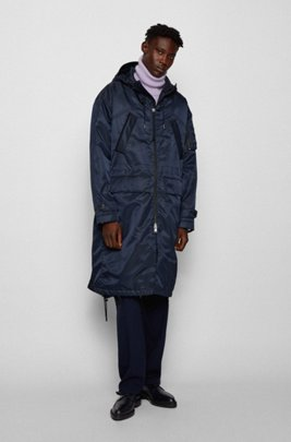Relaxed-fit parka jacket in Italian twill, Dark Blue