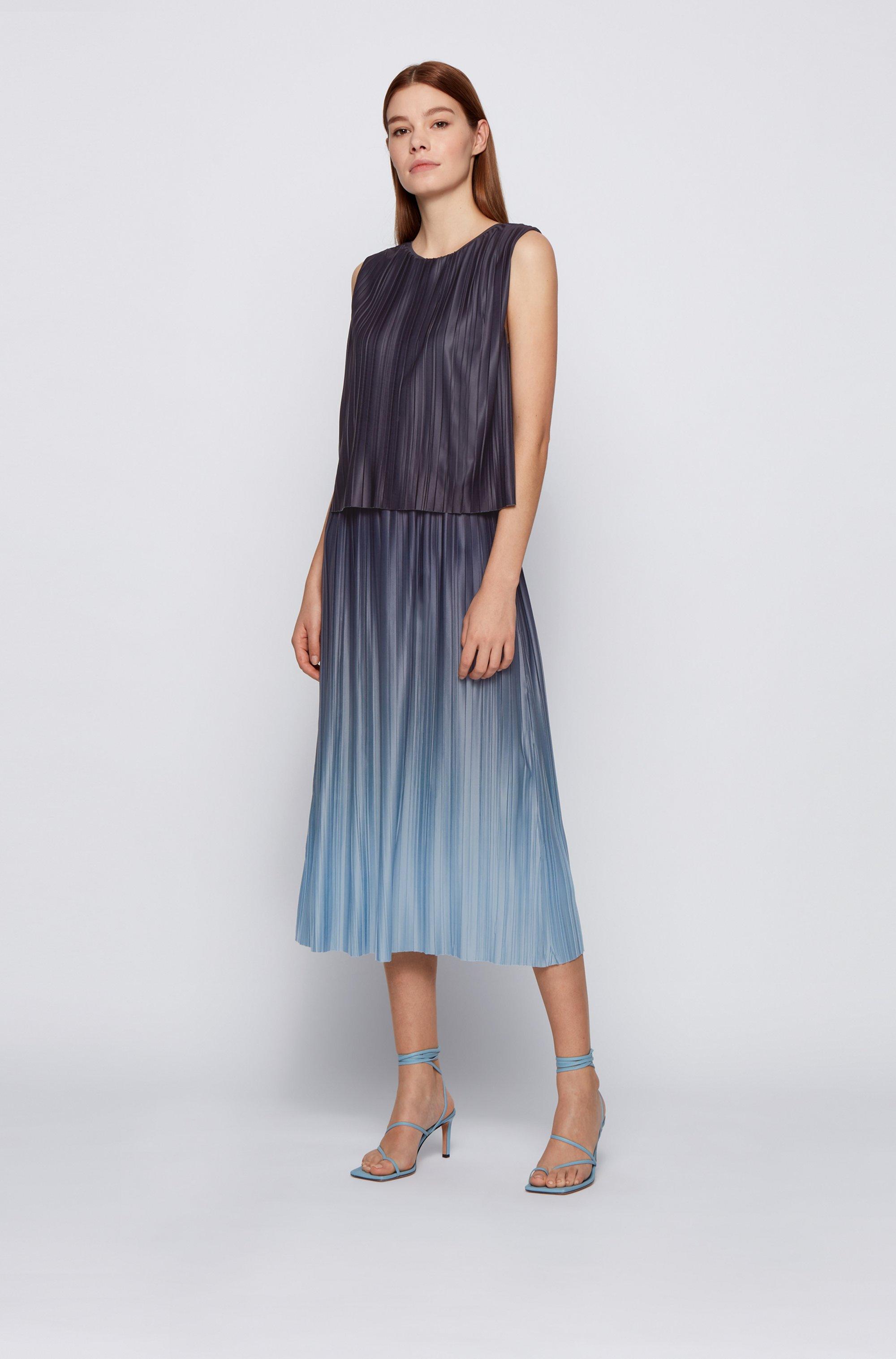 Layered degradé dress in Italian plissé fabric