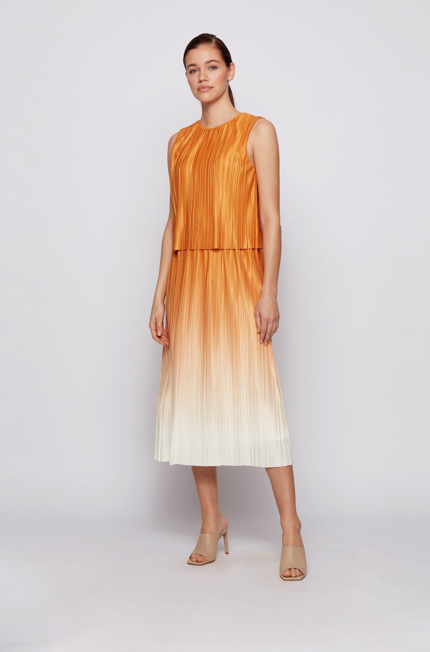 Layered degradé dress in Italian plissé fabric, Patterned
