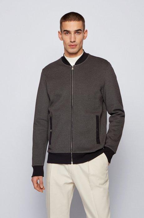Zip-through sweatshirt in double-knit cotton blend, Dark Grey