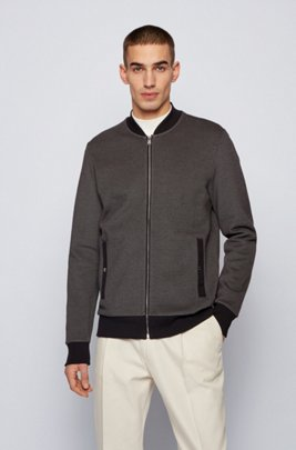Zip-through sweatshirt in double-knit cotton blend, Dark Grey