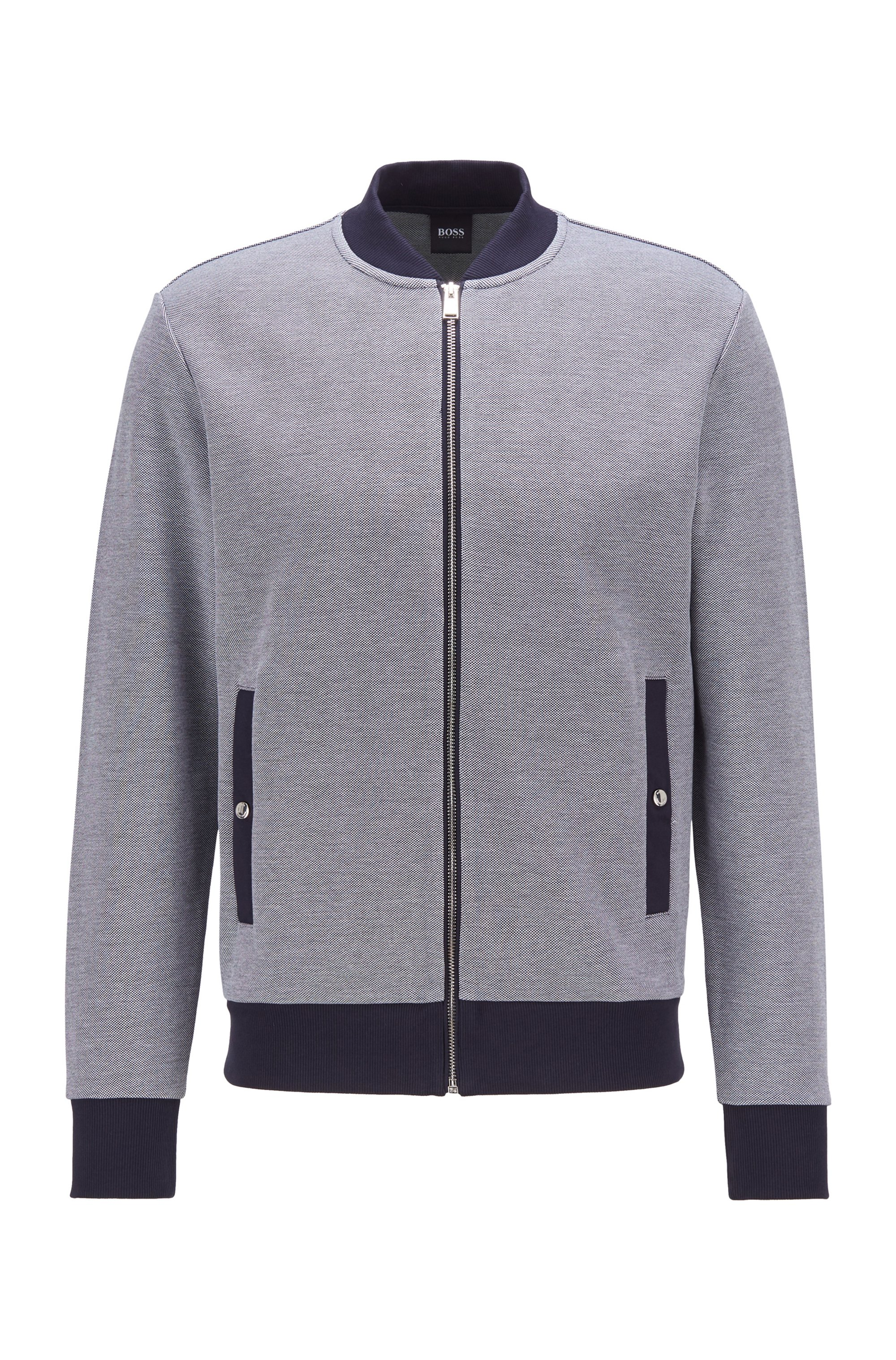 Zip-through sweatshirt in double-knit cotton blend, Grey
