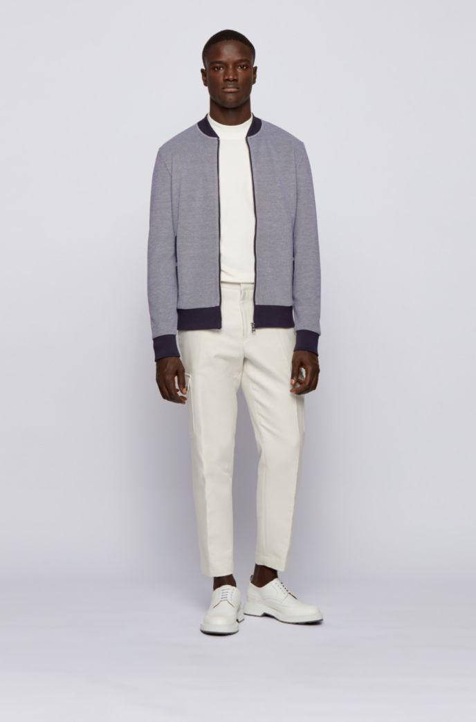 Zip-through sweatshirt in double-knit cotton blend