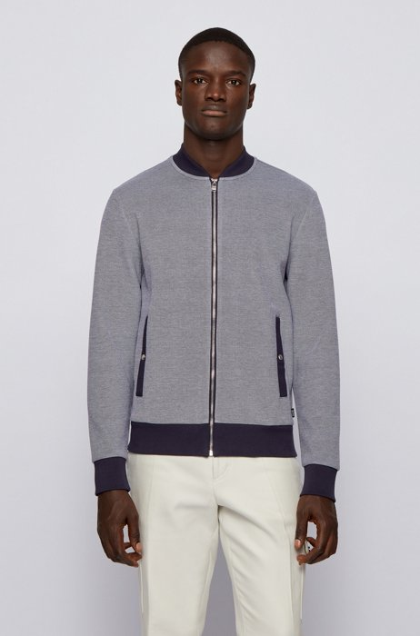 Zip-through sweatshirt in double-knit cotton blend, Grey