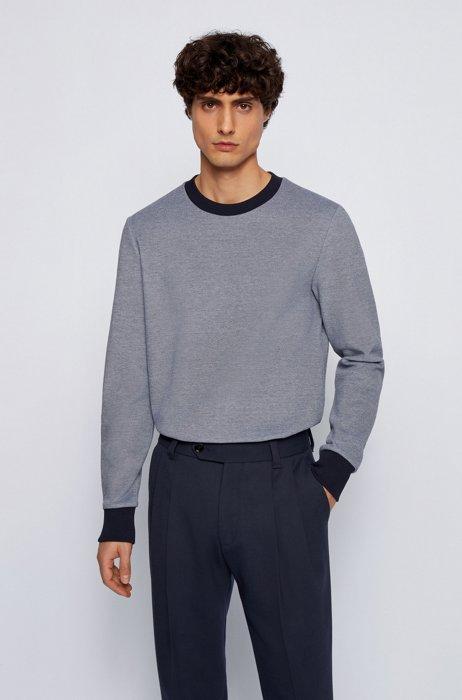 Cotton-blend sweatshirt in double-knit jacquard, Dark Blue