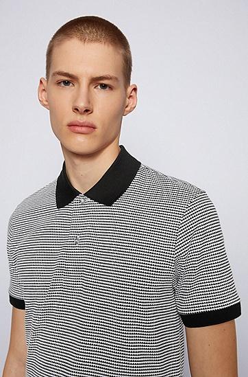 双色图案常规版型 Polo 衫,  001_黑色