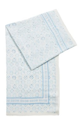 Cotton-modal square scarf with all-over print, Patterned