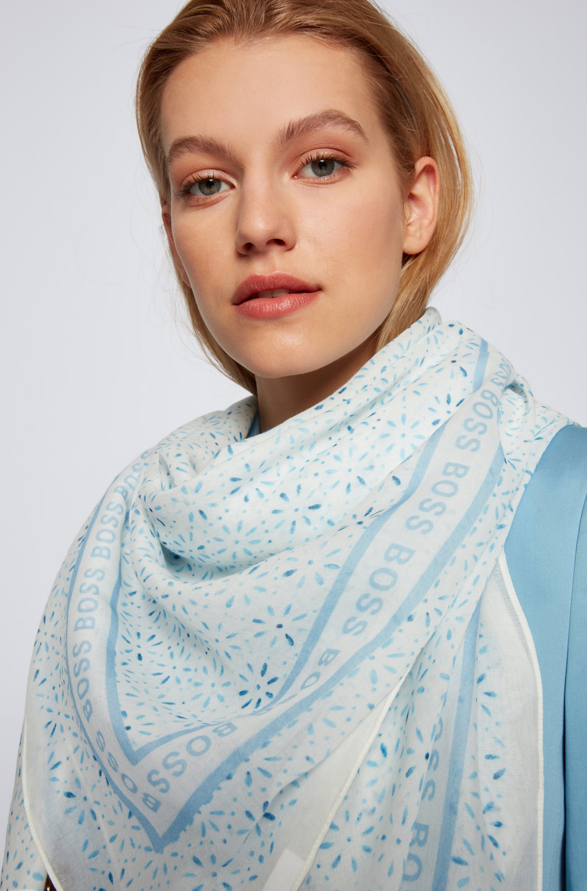 Cotton-modal square scarf with all-over print