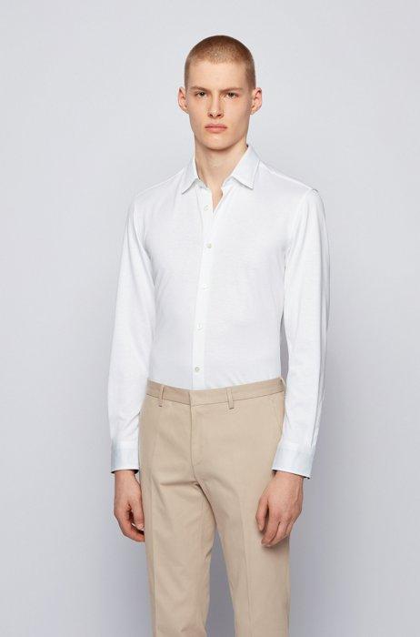 Chemise Slim Fit en coton biologique et chanvre à motif, Blanc