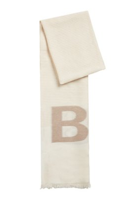 Scarf in cotton and modal with jacquard-woven logo, White