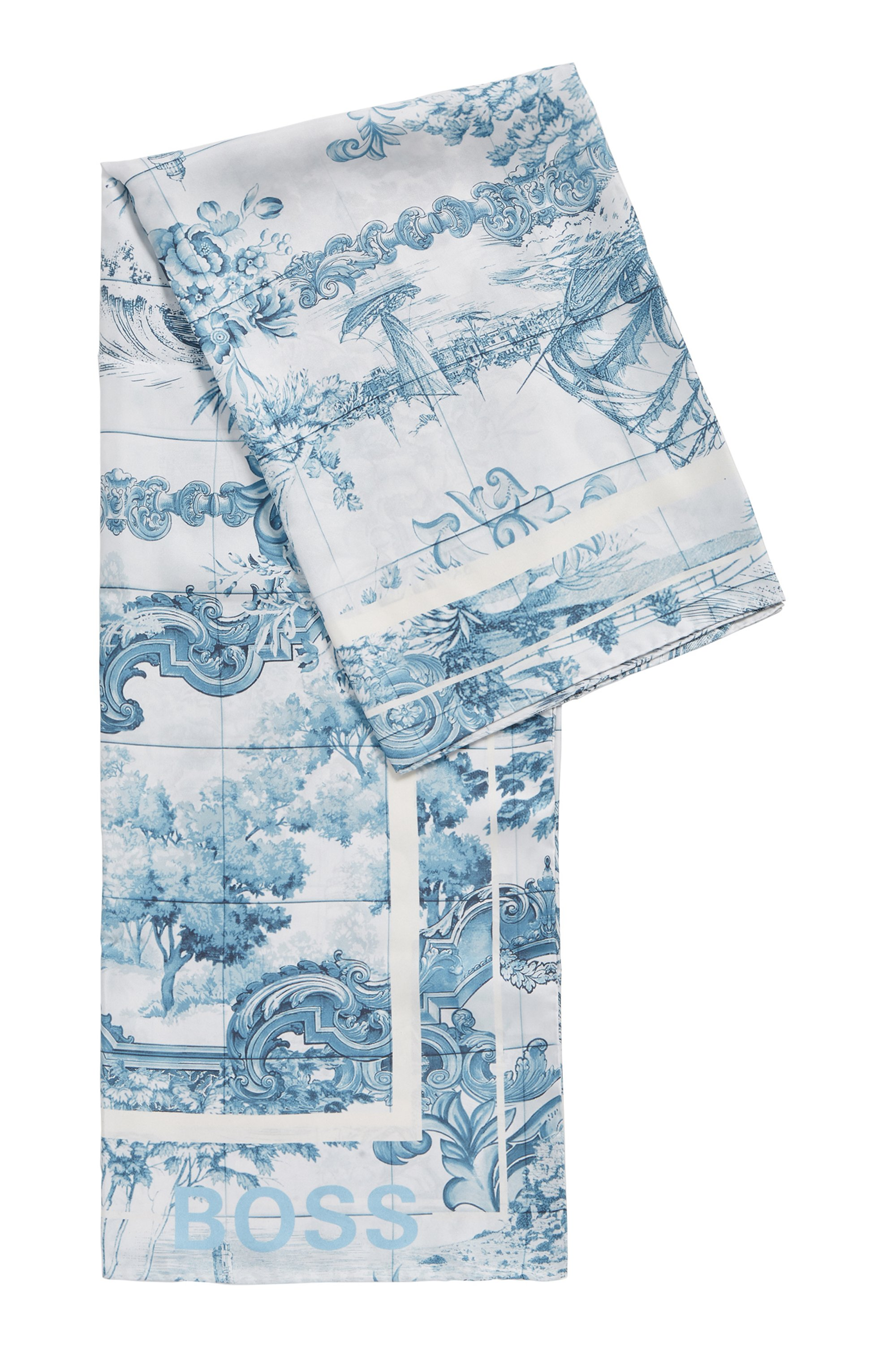 Square silk scarf with collection print, Patterned