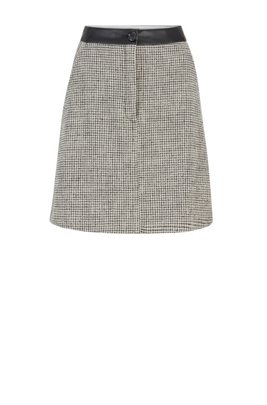 Tweed A-line skirt with faux-leather waistband, Black Patterned