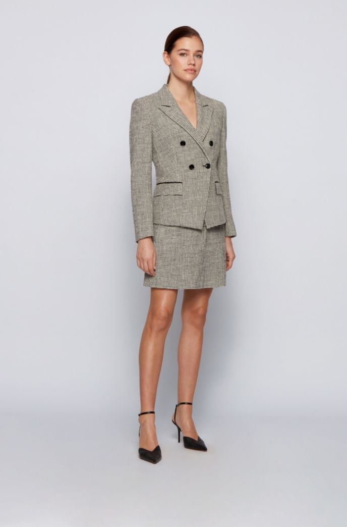 Tweed A-line skirt with faux-leather waistband