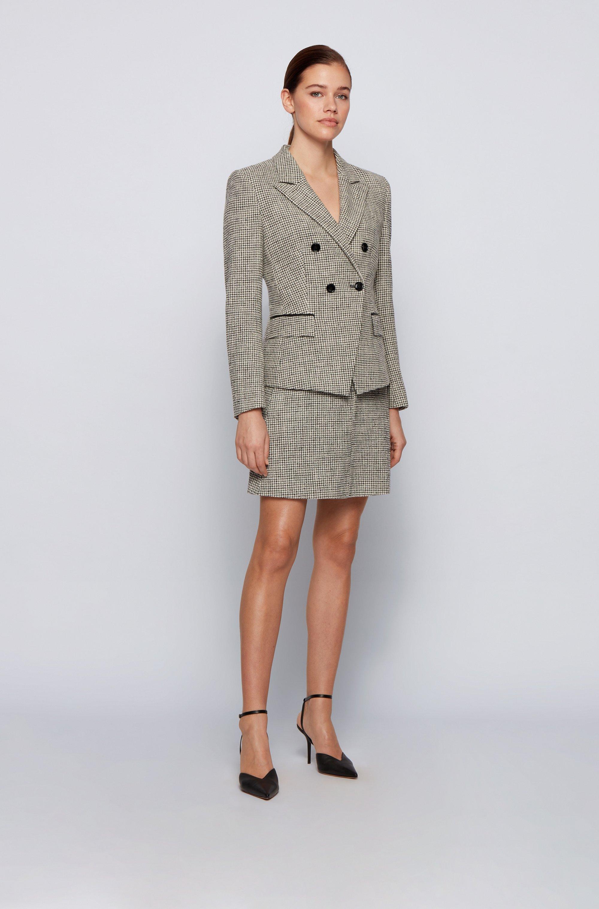Falda evasé de tweed con cintura de piel sintética