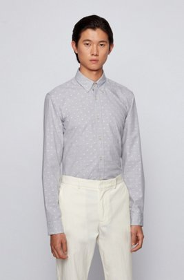 Button-down slim-fit shirt in washed cotton dobby, Grey Patterned
