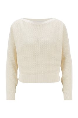 Relaxed-fit cropped sweater in cotton and silk, White