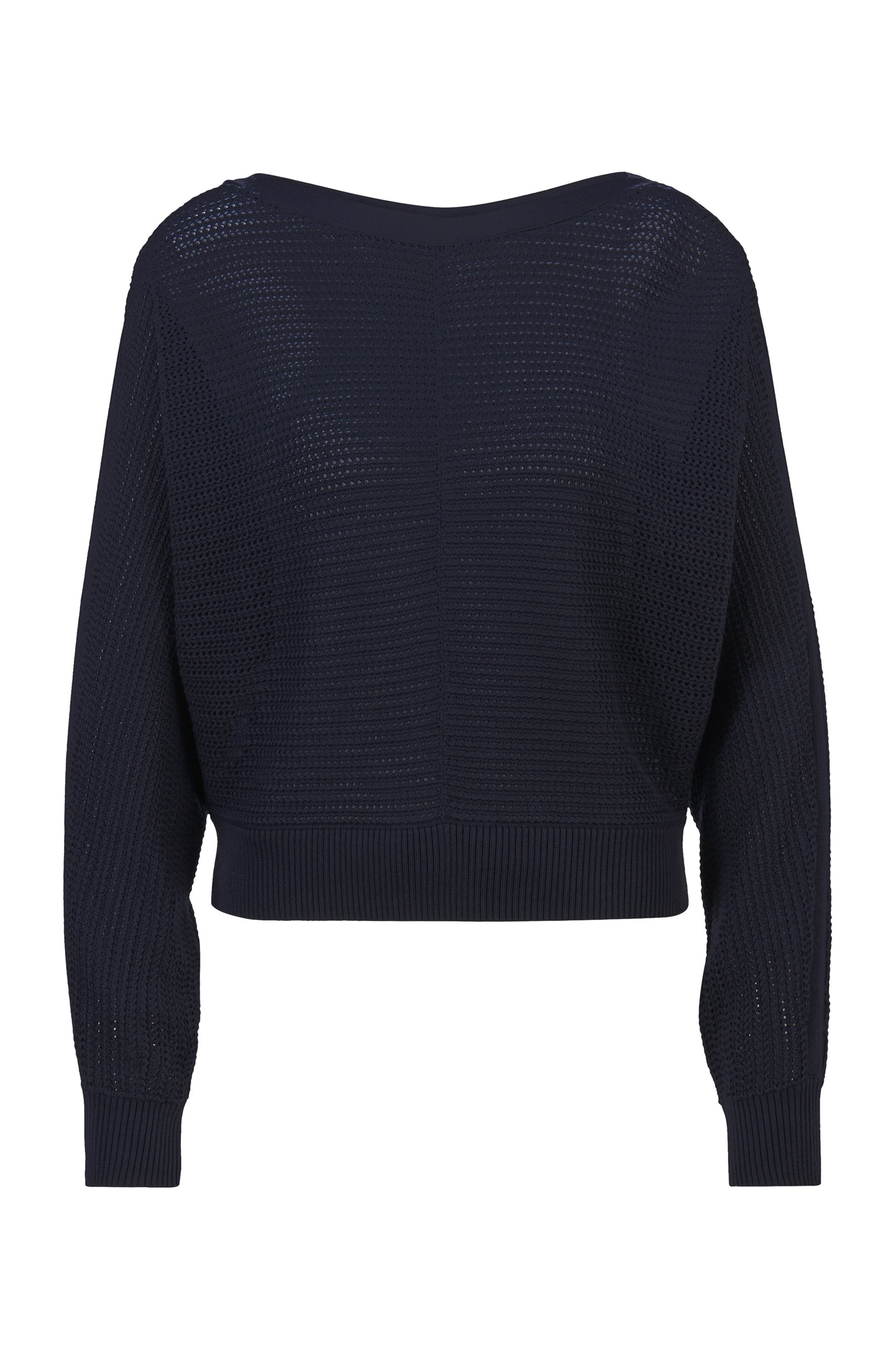 Relaxed-fit cropped sweater in cotton and silk, Dark Blue