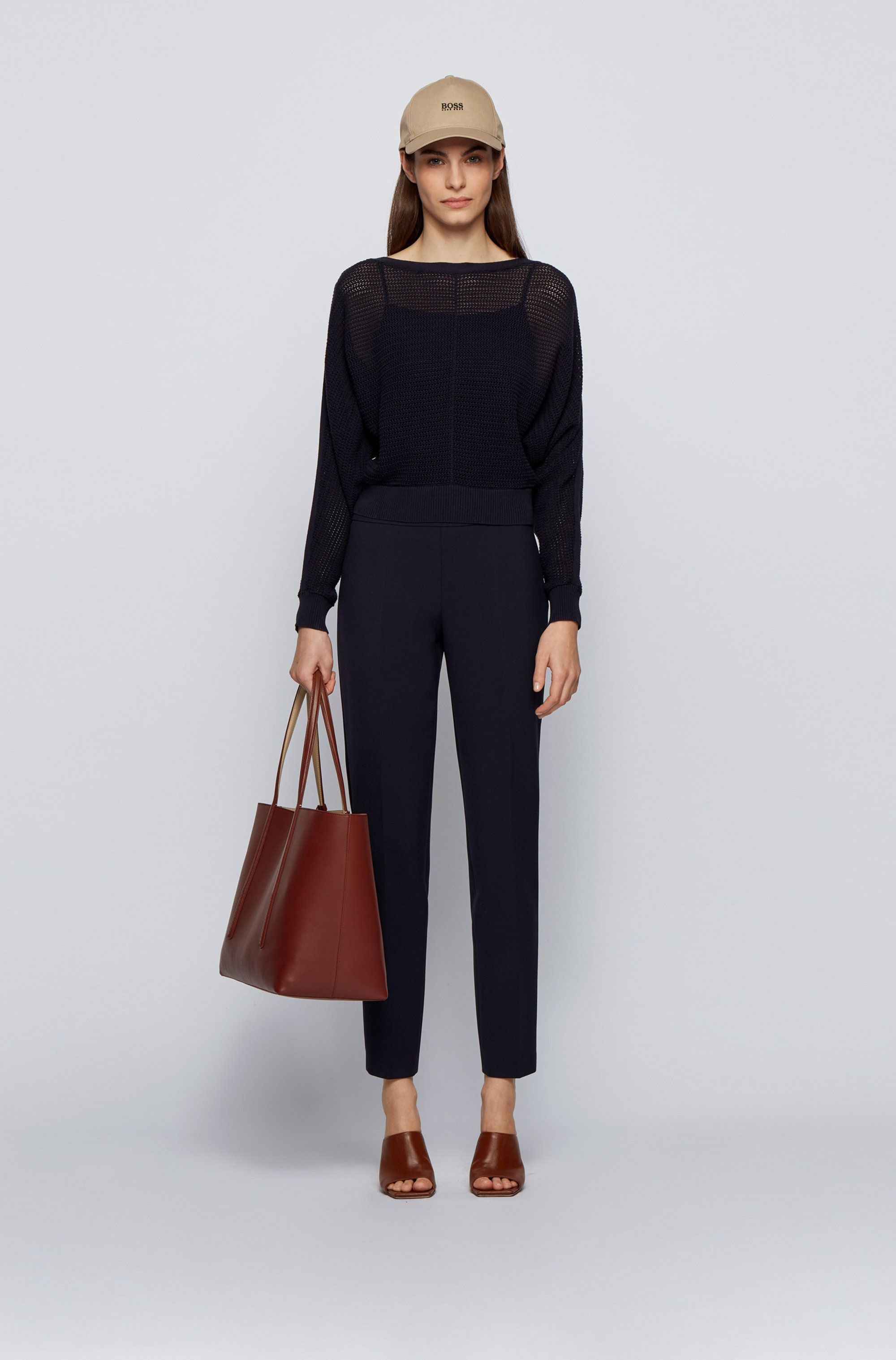 Relaxed-fit cropped sweater in cotton and silk