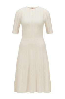 Wide-neck knitted dress with three-quarter sleeves, White