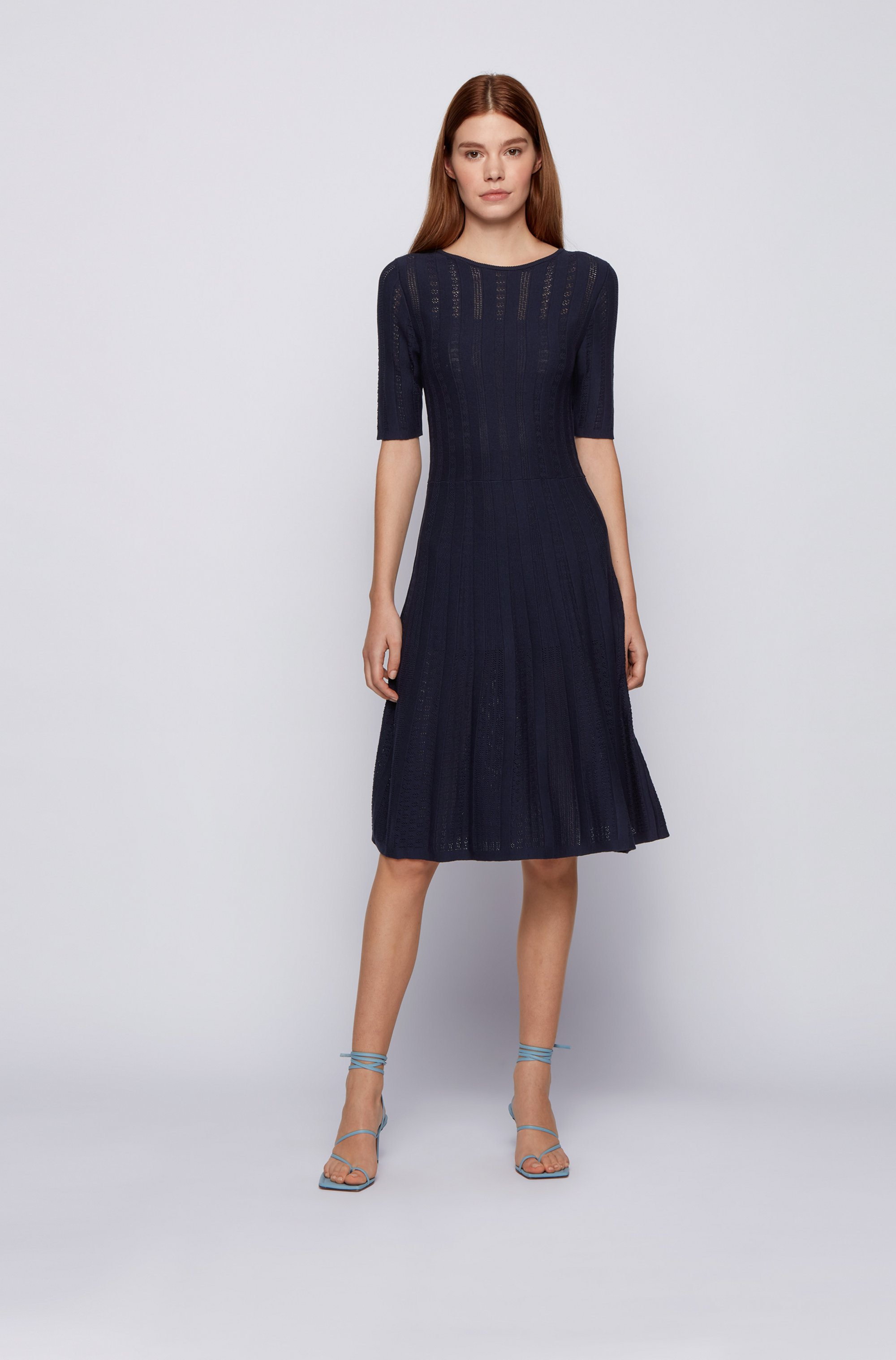 Wide-neck knitted dress with three-quarter sleeves