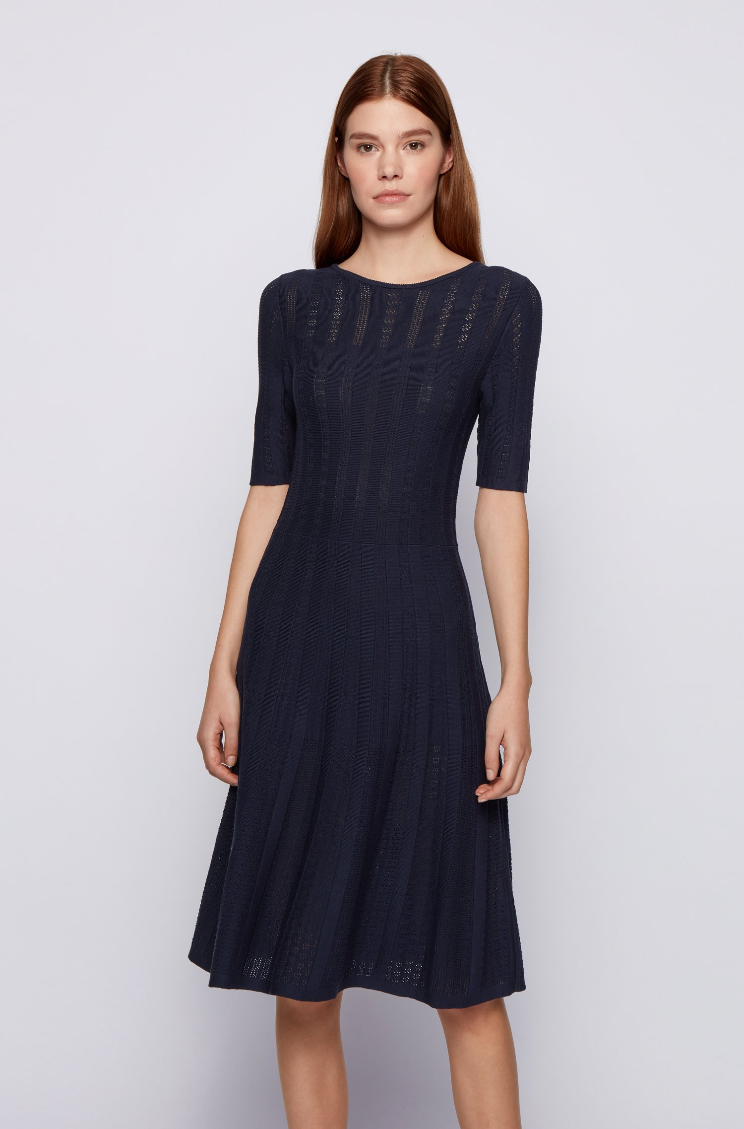 Wide-neck knitted dress with three-quarter sleeves, Dark Blue