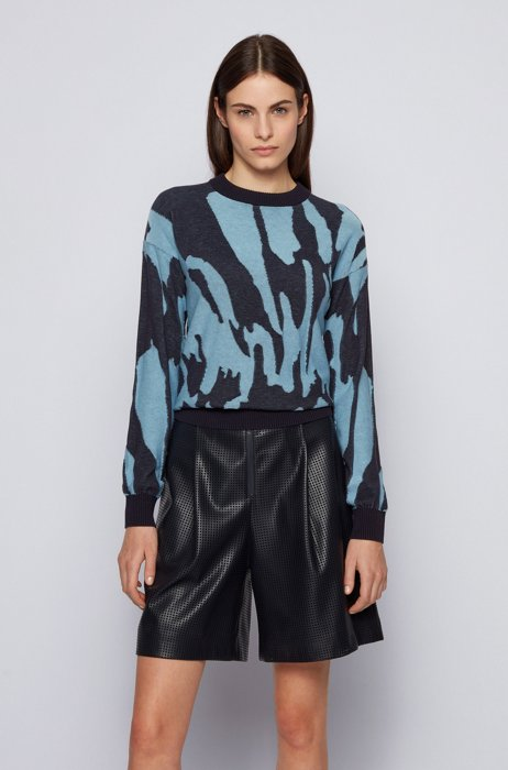 Collection-pattern sweater in cotton and silk, Blue Patterned