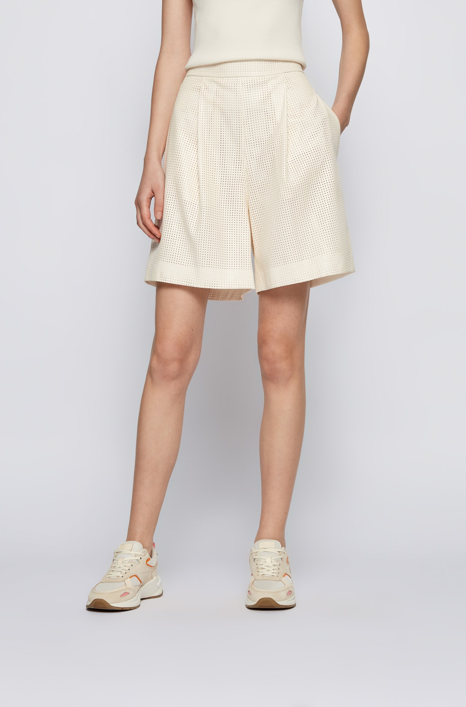 Wide-leg shorts in perforated faux leather, Beige
