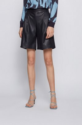Wide-leg shorts in perforated faux leather, Black