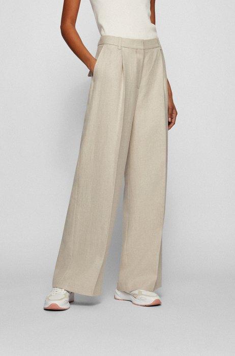 Wide-leg relaxed-fit trousers in pure hemp, Beige