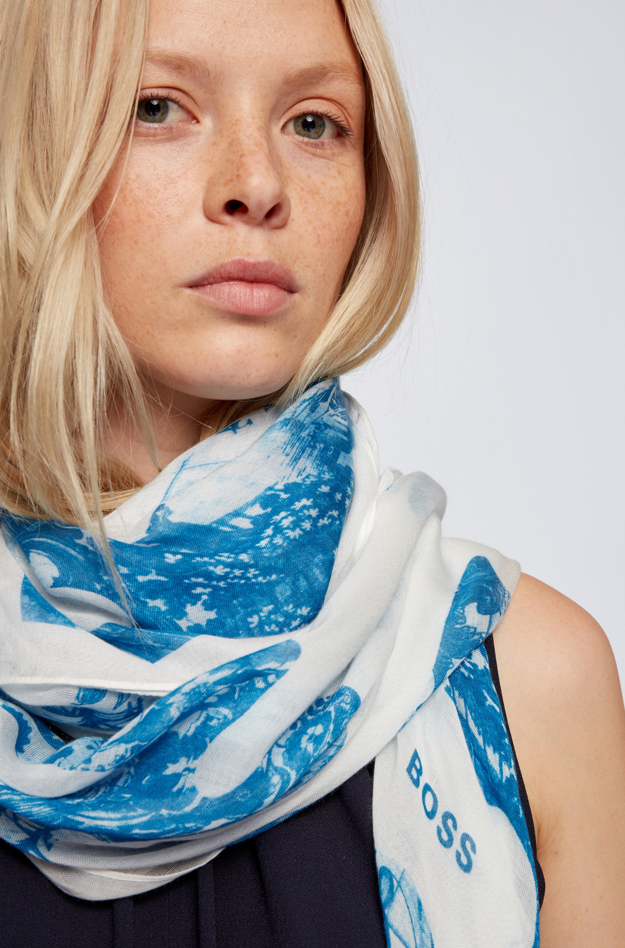 Tile-print scarf in lightweight modal