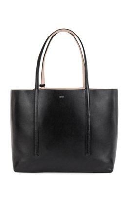 Nappa-leather reversible shopper bag with branded pouch, Black