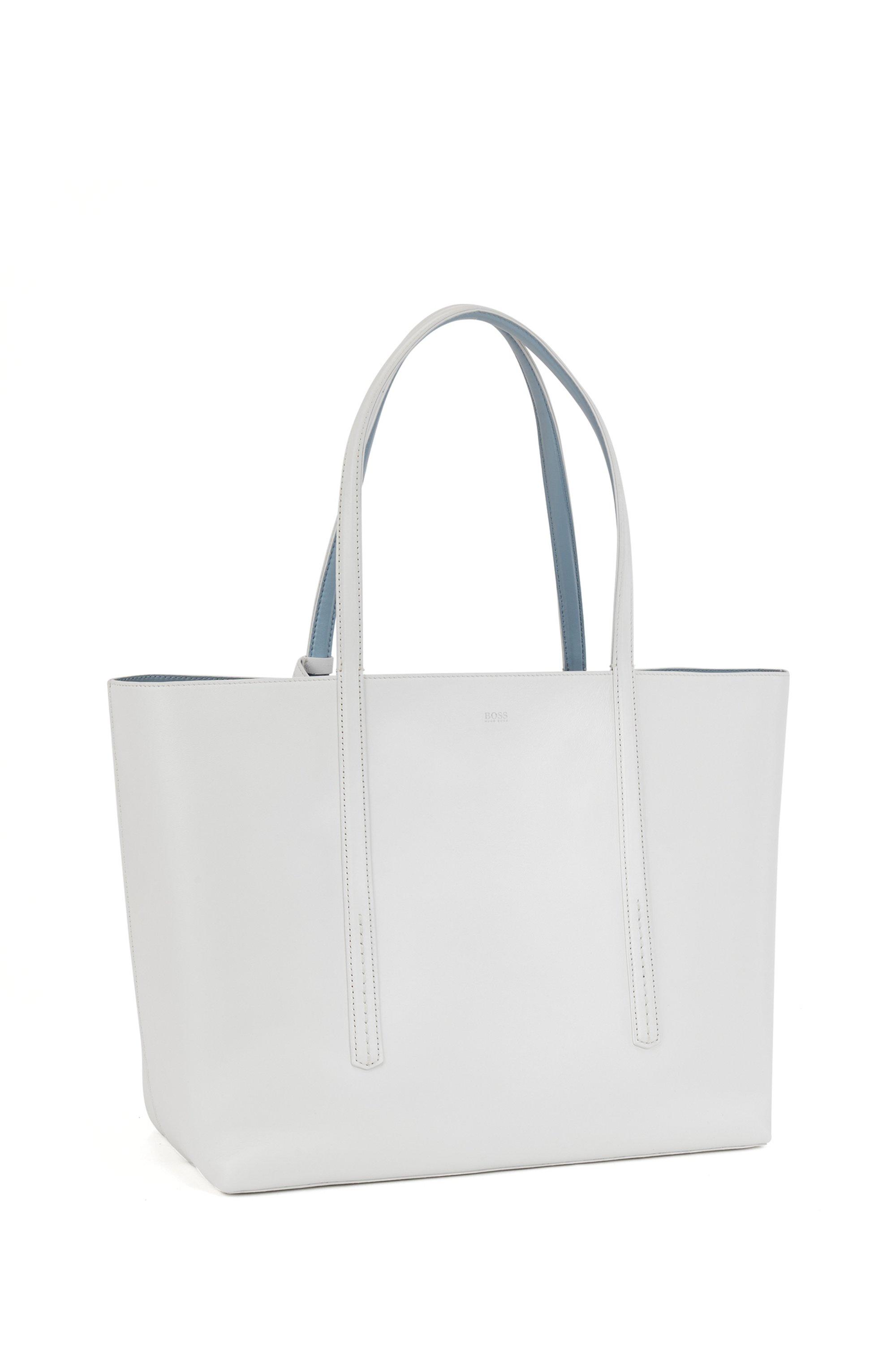Wende-Shopper aus Nappaleder mit Logo-Pouch, Weiß
