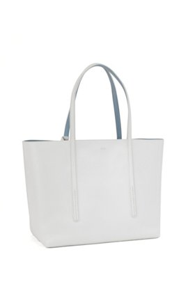 Nappa-leather reversible shopper bag with branded pouch, White