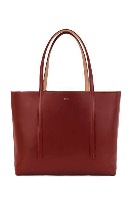 Nappa-leather reversible shopper bag with branded pouch, Brown