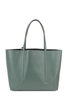 Nappa-leather reversible shopper bag with branded pouch, Light Green