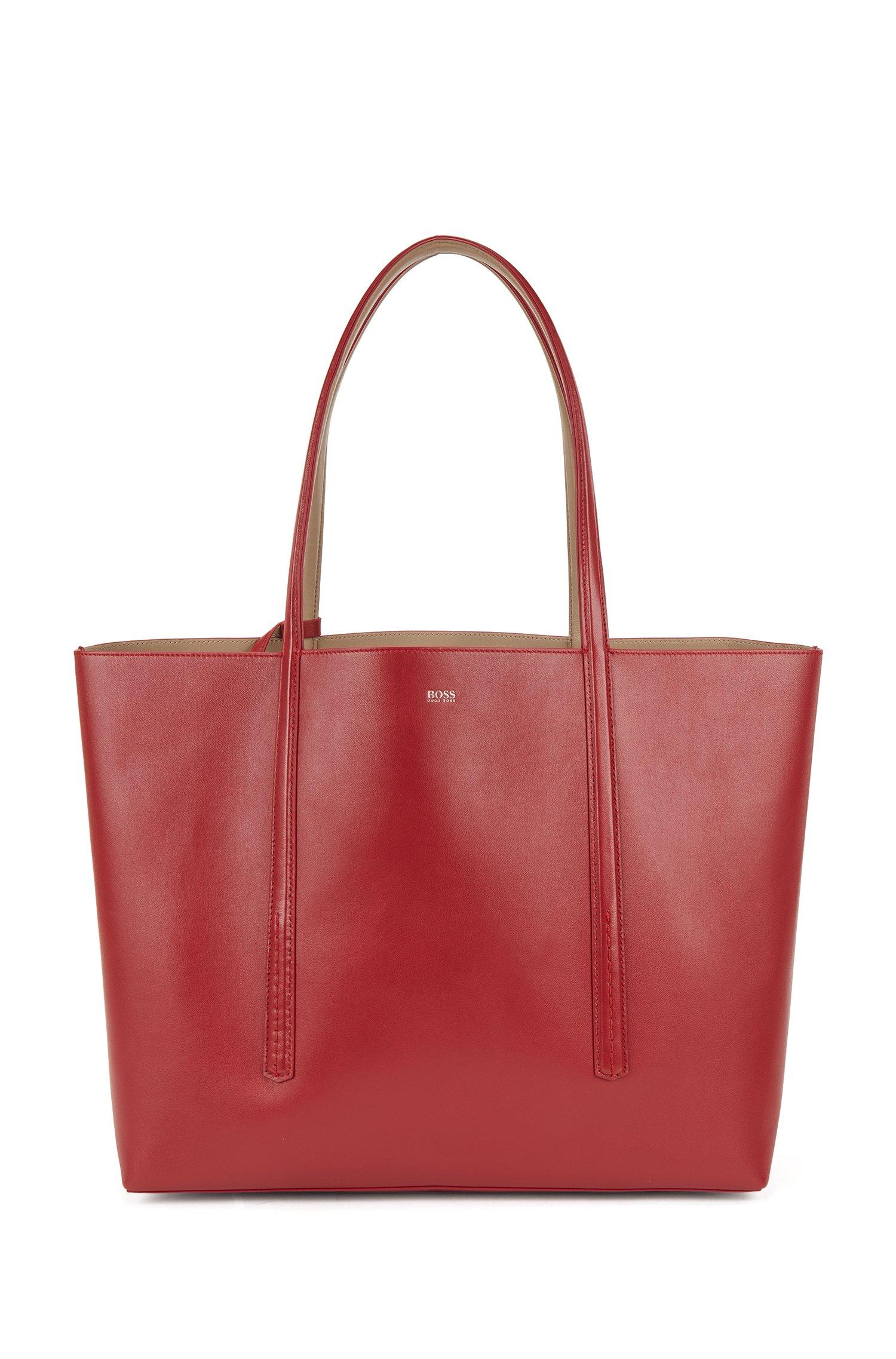 Cabas réversible en cuir nappa avec pochette à logo, Rouge