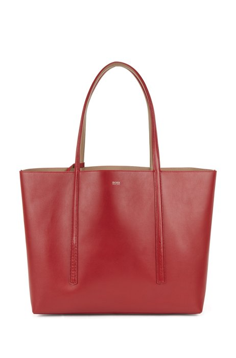 Nappa-leather reversible shopper bag with branded pouch, Red