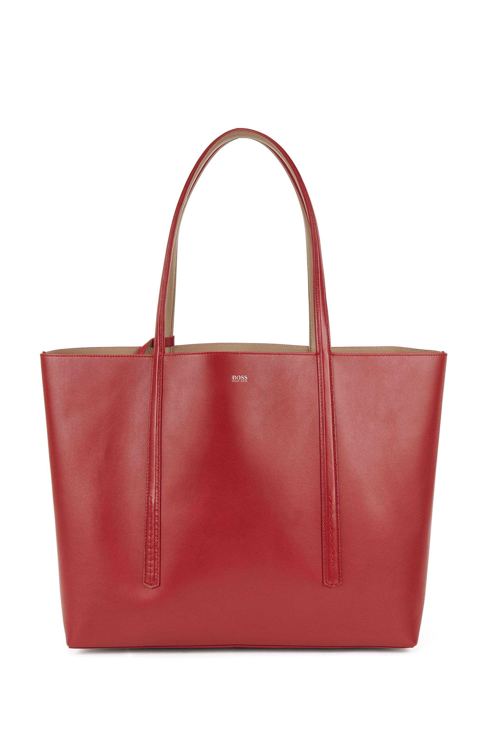 Wende-Shopper aus Nappaleder mit Logo-Pouch, Rot