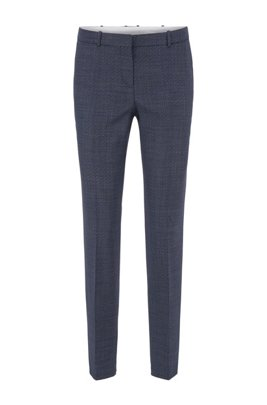 Regular-fit trousers in micro-patterned stretch-wool serge, Dark Blue